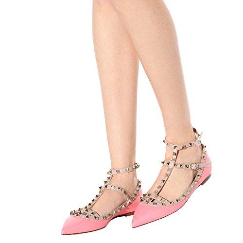 Chris-t Donna Borchie In Metallo Strappy Fibbia Punta A Punta Appartamenti Comodi Scarpe Eleganti Scarpe 5-14 Us Pink