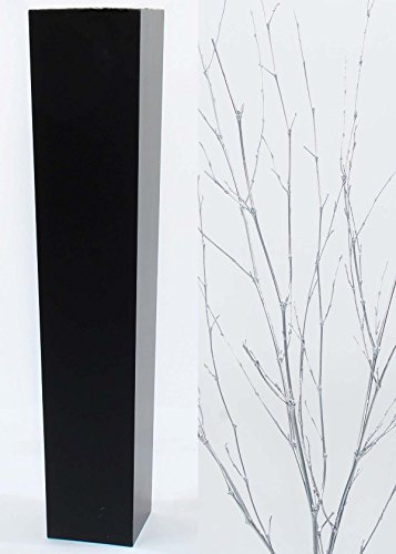 GreenFloralCrafts Silver Bamboo Branches in Tall Tapered Black Floor Vase - 36 in.H x 7.5 in. Opening (Floor 36 Inch Vases Tall)