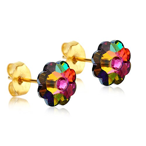 24K Gold Coated Stud Earrings with 8mm Multi-Colored Swarovski Crystal Flowers