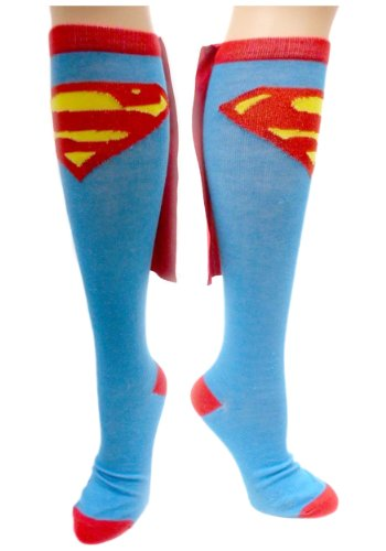 Junior's Superman Cape Knee High Socks - One Size (Blue)]()