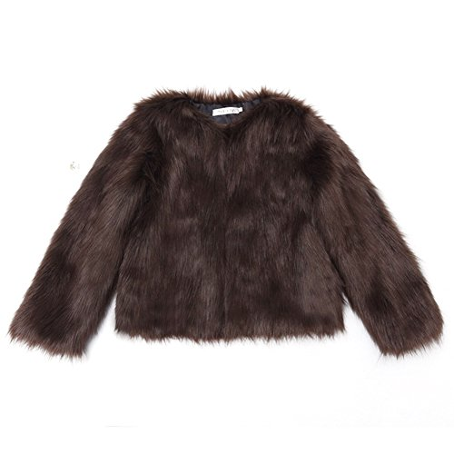 Per Manteau Fourrure Femme Hiver Veste Fourrure Manche Longue Blouson Femme Fausse Fourrure Fur Coat Marron