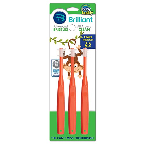 Brilliant Child Toothbrush by Baby Buddy - For Ages 2+ Years, BPA Free Super-Fine Micro Bristles Clean All-Around Mouth, Kids Love Them, Red, 3 Count