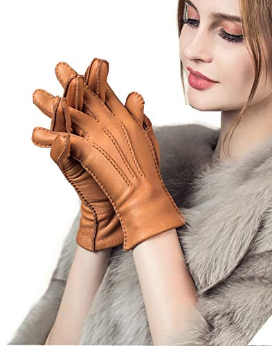 - YISEVEN Women's Cashmere Lined Deerskin Leather Gloves Handsewn Classical Three Points and Long Cuff for Winter Hand Warm Fur Heated Dress Driving Motorcycle Luxury Gifts, Cognac 8.5