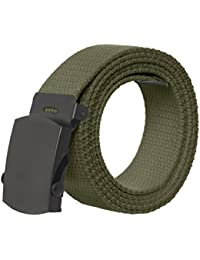 Canvas Military Style Belt withBlack Buckle – Many Colors