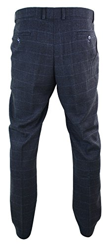 Homme Marine Carreaux Classique Chevrons Bleu Coupe Peaky Style Rétro Pantalon Tweed Blinders ApPwnqBpRd