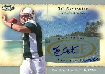 Autograph Warehouse 99686 T. C. Ostrander Autographed Football Card Stanford 2008 Sage Aspire Rookie No. H18 ()