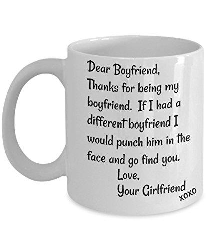 Boyfriend Mug (Dear Boyfriend Mug - Face Punch Mug, Best Inappropriate Sarcastic Mugs - Ceramic Coffee Cup With Funny Saying, Hilarious Gifts, Unusual Gag Gifts For)