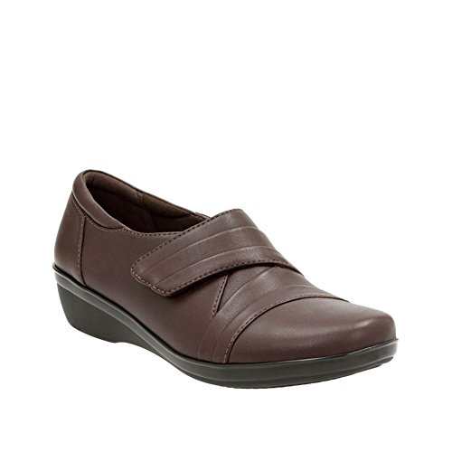CLARKS Womens Everlay Tara Leather Round Toe Slide Flats Dark Brown Leather YZ4GD