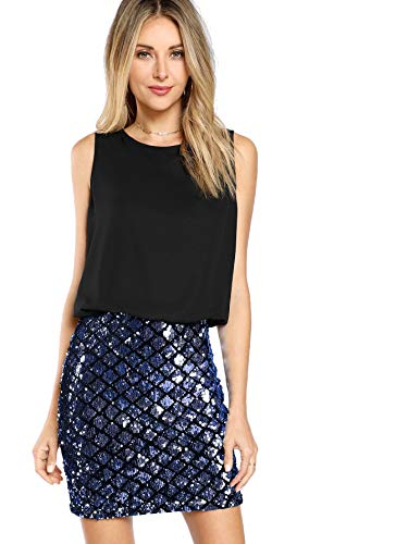 ROMWE Women's Sexy Layered Look Fashion Club Wear Party Sparkle Sequin Tank Dress Blue S