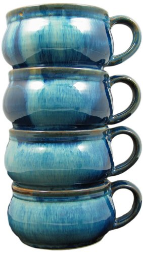 Set Of (4) Four - PRADO STONEWARE COLLECTION - Stacking/Stackable Soup, Chili, Stews Cups/Mugs/Bowls - Royal -