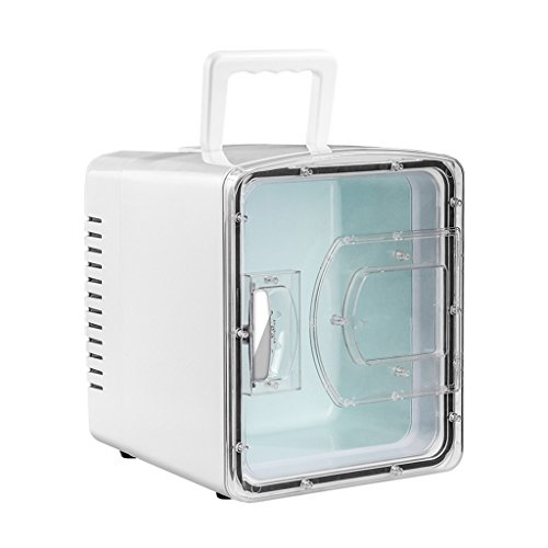 YI HOME- 8L Car Refrigerator Mini Portable Household Transparent Window Small Electronic Freezer Fast Cooling Heating Office 12V White (Transparent Refrigerator)