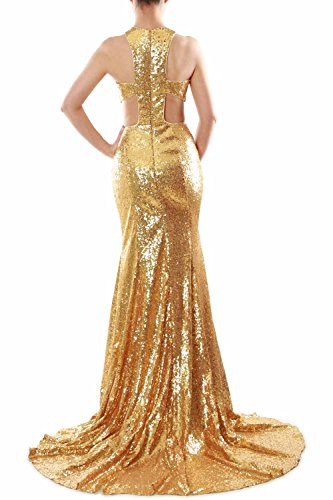 MACloth Women Mermaid High Neck Sequin Long Prom Dress Formal Party Evening Gown Azul Real