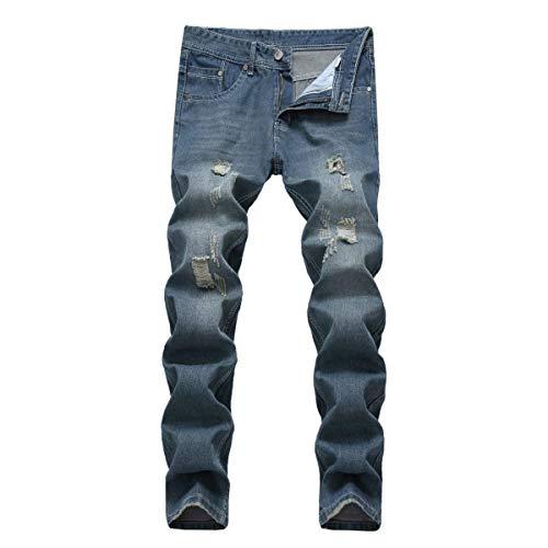 Giovane Pantaloni Jeans Skinny Blu Attillati A Vita Uomo Strappati Denim Bassa Da Wqq7aZpAw8