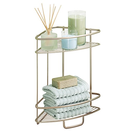 MDesign Free Standing Bathroom Or Shower Corner Storage Shelves For Towels,  Soap, Shampoo, Lotion, Accessories   2 Tier, Satin