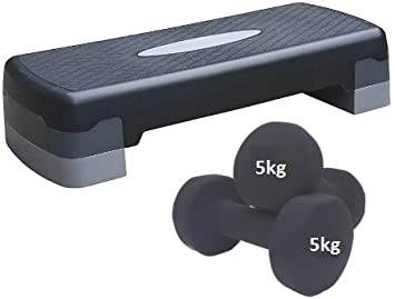 Aerobic Step & 5 kg juego de mancuernas (ejercicio paso y juego de mancuernas: Amazon.es: Deportes y aire libre