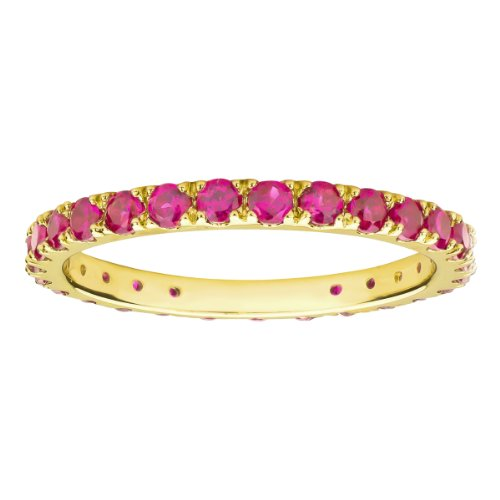 [10k Yellow Gold Round Created Ruby Eternity Ring (Size 8)] (Created Ruby Eternity Ring)