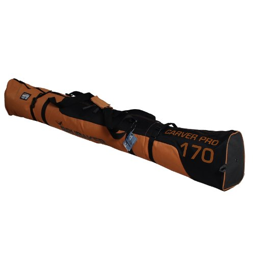 BRUBAKER Padded Ski Bag Carver Pro 2.0 with strong 2-Way Zip and Compression Straps - Dark Orange / Black - 74 3/4 Inches