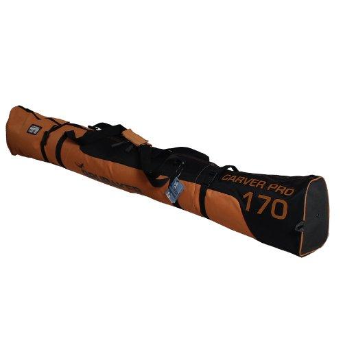 BRUBAKER Padded Ski Bag Carver Pro 2.0 with strong 2-Way Zip and Compression Straps - Dark Orange / Black - 74 3/4 - Double Ski Bag Padded