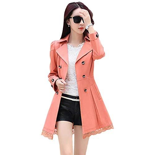 À Size Revers lacets pour Mode Dessus Manteau Plus Girl Manches Exquis Orange boutonnage Slim Longues Couture élégant Double Printemps de femmes Chic Trench Vêtements Fit Transition Automne 0xY5aXaSqw