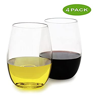 fullerLIFE - Unbreakable Wine Glasses Stemless Ultra-Thin - Standard 16oz size - set of 4 - Dishwasher Safe- 100% Tritan Clear