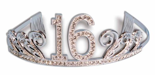 Forum Novelties Rhinestone Encrusted 16th Happy Birthday Tiara with Keepsake Box