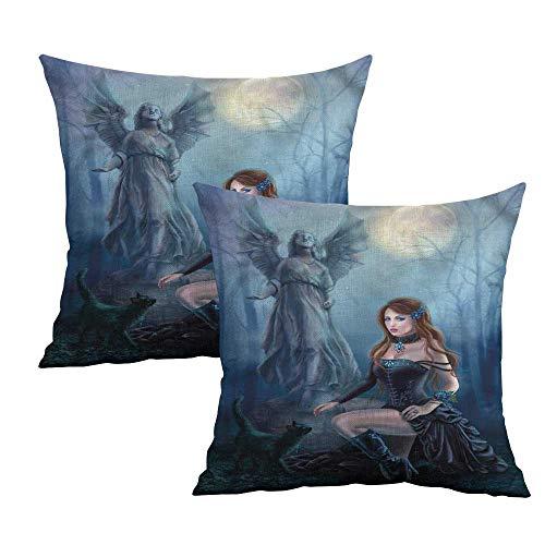 Khaki home Vampire Square Zippered Pillowcase Fantasy Woman Black Cat Square Slip Pillowcase Cushion Cases Pillowcases for Sofa Bedroom Car W 16