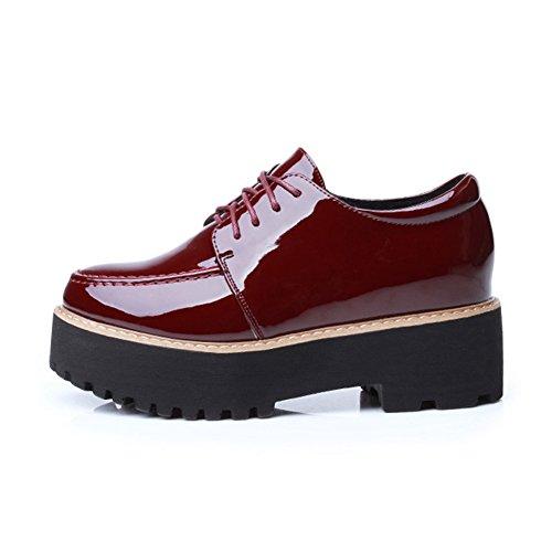 Giy Donna Moda Sneaker Bassa Piattaforma Piattaforma Di Spessore Inferiore Aumento Casuale Scarpe Sportive Con Zeppa Rosso Senza Fodera In Pelliccia