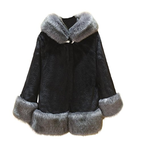 Women Big Size Coat,Todaies Women Winter Warm Long Sleeve Parka Outwear Fake Fur Coat S-5XL (L, Black) by Todaies-Women Coat