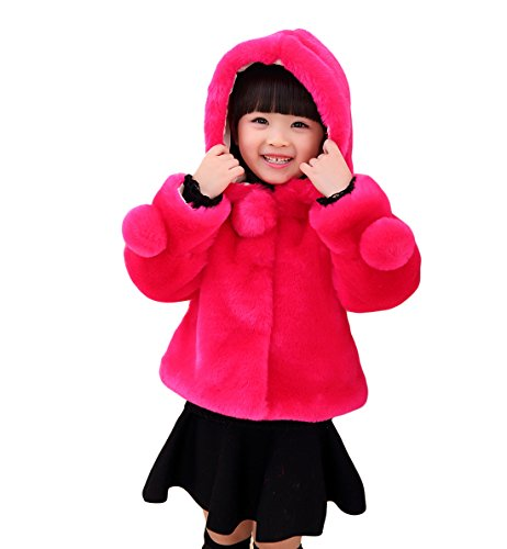 Girls Faux Fur Jacket Hooded Cloak Coat Thick Warm Winter Outerwear Princess Cape for 1-8 Years Kids