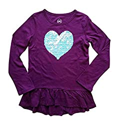Sequin Heart Girls Long Sleeve Shirt