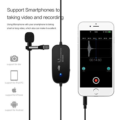 Professional Lavalier Lapel Microphone,ZhuoSheng Camera Mic 6M, Perfect for Iphone/Smartphone video/Youtobe/Interview/Conference/Podcast/Voice Dictation
