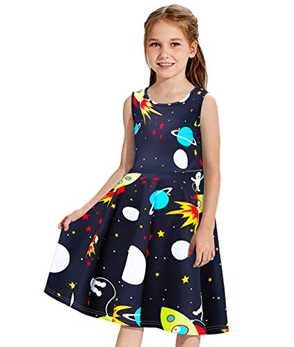 Idgreatim Kids Tunic Dress Girls Black Print Space Rocket Sundress Skirts Cute Pattern Swing Dresses for Dance Ball 6-7T