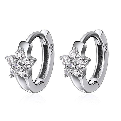 YFN Huggie Earrings 925 Sterling Silver Small Crystal Hoops Ear Ring for ()