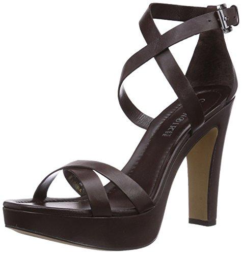Sandal 048 Plateau Café Braun Noir femme Marron T moro qzFTSx