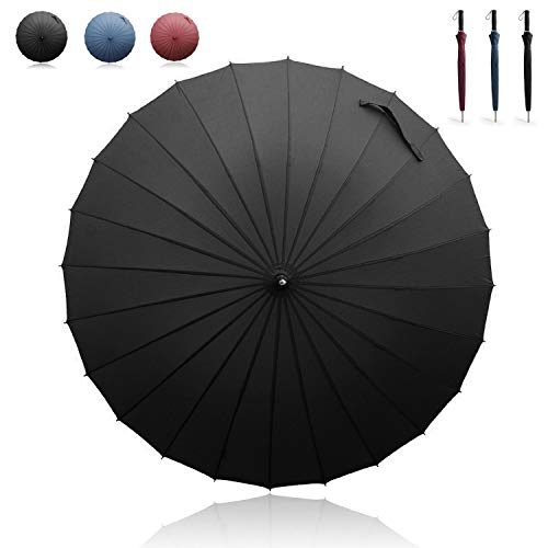 Becko Manual Open & Close Umbrella Long Umbrella with 24 Ribs, Durable and Strong Enough for the Wind and Rain, Easy to Carry on Your Back By Its Own Bag (Black) ()