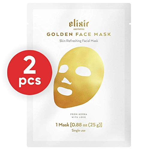 Elixir Cosmetics 24K Gold Korean Collagen Face Mask - Anti-Aging & Moisturizing Peel Off Facial Sheet Mask - 2 Pack