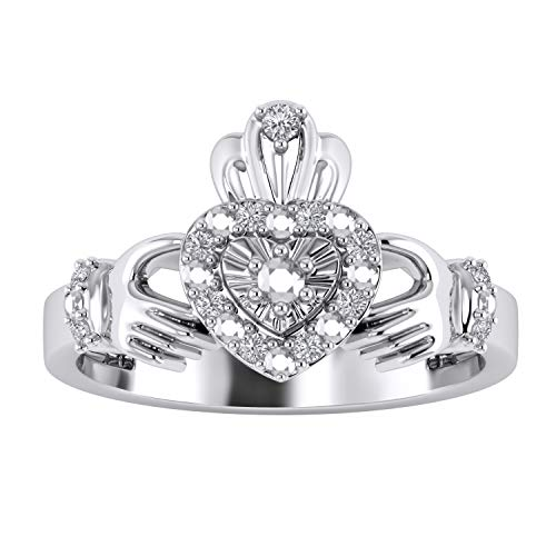 Trillion Jewels Heart Claddagh Engagement Ring 0.10 CT Round Cut Diamond in 14K White Gold Fn -