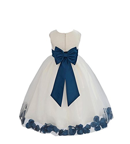 Wedding Pageant Flower Petals Girl Ivory Dress with Bow Tie Sash 302a 6 -