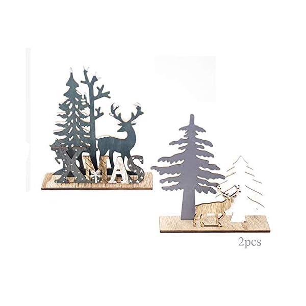 Anyingkai 2pcs Ornamenti Natalizi alci,Decorazioni da Tavolo in Legno di Alce,Legno di Alce Fai da Te Regali,Legno di Alce Ornamenti,Decorazione in Legno Renna Decorazione (Alce) 1 spesavip