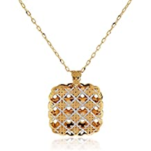 Gioiello Italiano - 14kt yellow gold necklace with squared pendant