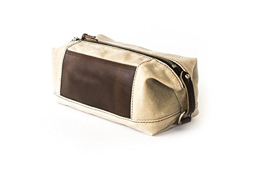 Waxed Canvas Dopp Kit: Expandable, Water-Resistant, Hanging Toiletry Bag, Travel, Natural - No. 321 (Made in the USA) by Sivani Designs