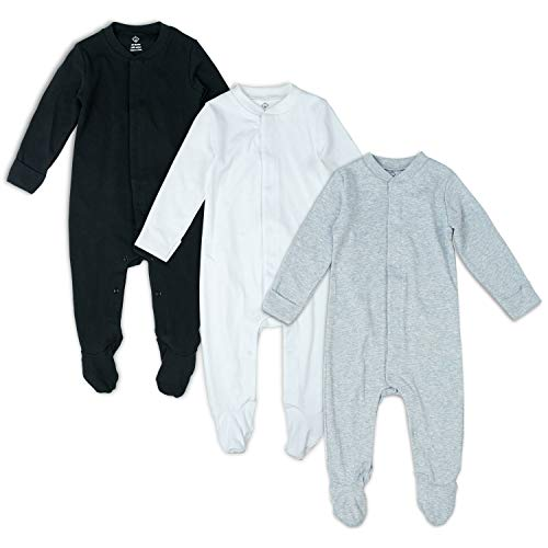 OPAWO Solid Color Unisex Baby Footed Sleeper Pajamas with Mitten Cuffs 3-Pack 0-18 Months (Black/White/Gray, 3-6 Months) ()