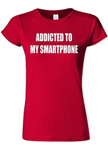 シガレットバレル業界Addicted To My Smartphone Novelty Cherry Red Women T Shirt Top-XL