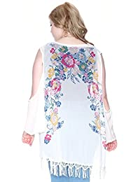 Plus Size Open Sleeve Floral Fringe Cardigan