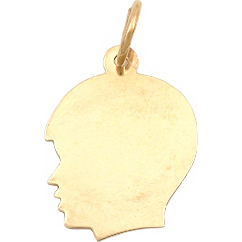 14k Boy Head - Boy Head Silhouette Charm 14K Gold 19mm