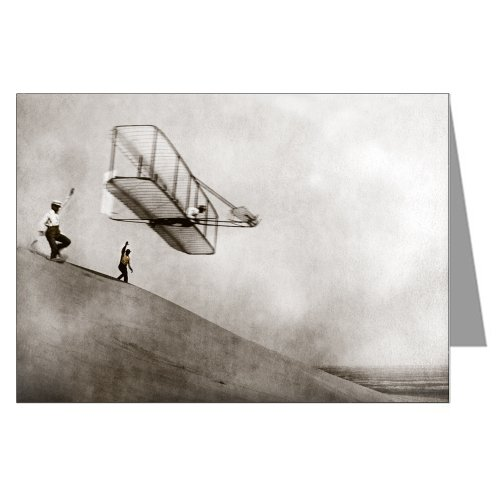Hawk Glider - Single Orville and Wilbur Wright In their Historic Flight at Kitty Hawk in 1903 Greeting Card