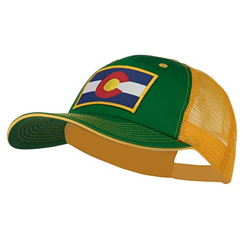 Colorado Western State Patched Big Washed Mesh Cap - Kelly Gold (State Seal Ball Cap)