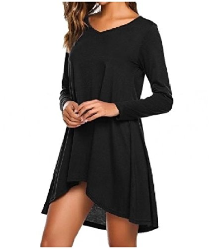 Coolred Sexy Sleeve Irregular Black Large Long Mid Casual Women Tops Dress Size IrIq7Zw