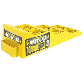 "Camco Yellow Drive On Tri-Leveler, Raises Your RV Up by 3-7/8"" Works on Any Tire, Has Built In Handle, Load Capacity of 4000 lbs, Durable Non Slip Surface (44573)"