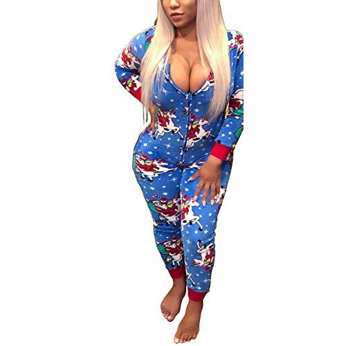 Women Sexy Family Santa Christmas Onesies Pajamas Adult Funny Matching JumpsuitSleepwear Blue ()